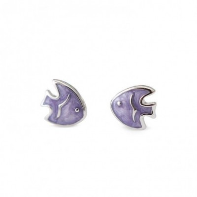 Fish Enamel & Silver Stud Earrings