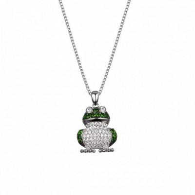 Green Frog  Gemstone Solid Silver Pendant