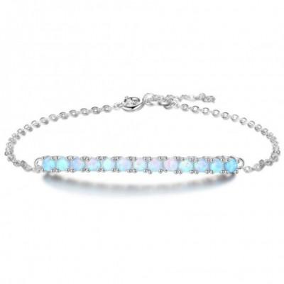 Cyan Opal Bar Solid Silver Bracelet