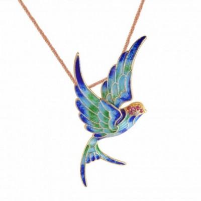 Bird Cloisonne Silver Pendant