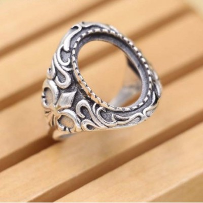 Arrow Silver Adjustable Ring Oval Gem