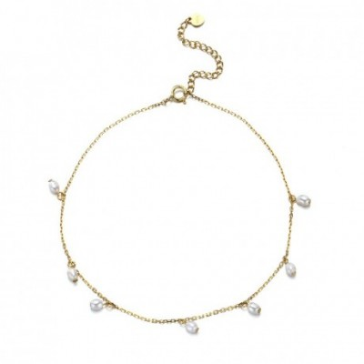 White Pearl Solid Silver Adjustable Anklet