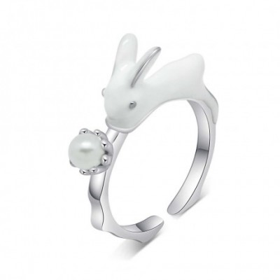 Bunny White Enamel & Pearl Adjustable Ring