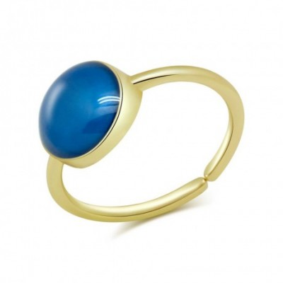 Blue  Opal Round Solid Silver Adjustable Ring