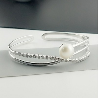 Cross  Gemstone Solid Silver Pearl Adjustable Bangle