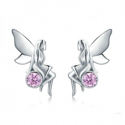Forest Fair Elf Silver Pink  Gemstone Studs Earrings