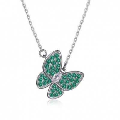 Butterfly  Gemstone Silver Necklace