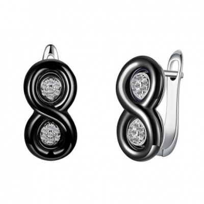 8 Shape Ceramic  Gemstone Two Circles Silver Earrings