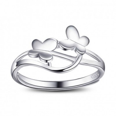 Butterflies Intertwined Silver Adjustable Ring