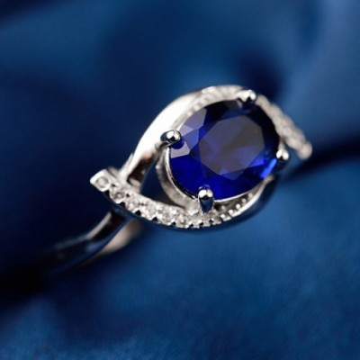 Blue  Gemstone Eye Silver Adjustable Ring