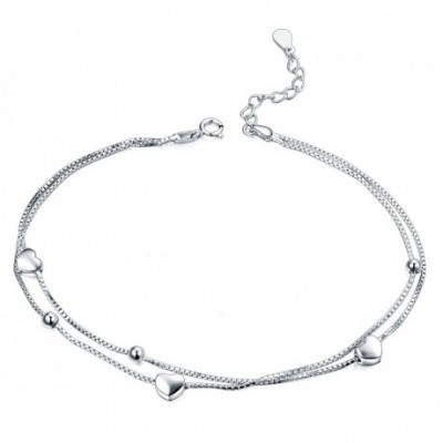 Hearts Balls Two Lines Silver Anklet