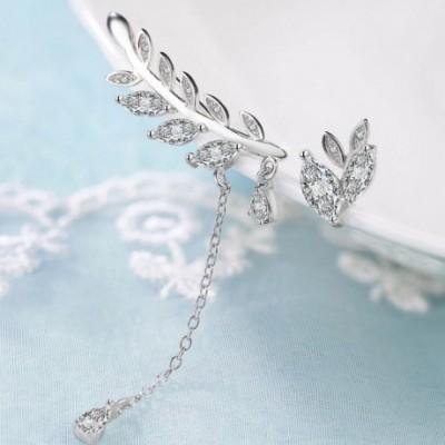 Asymmetry Silver Spring Leaf Studs Climbing Earrings