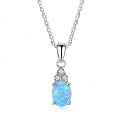 Tortoise Opal Gemstone Silver Necklace