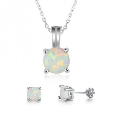 Round  Opal Silver Earrings Necklace Jewelry Sets