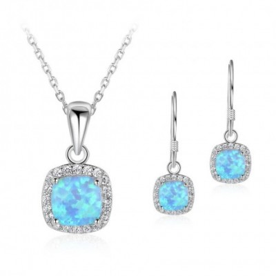 Square  Opal  Gemstone Silver Earrings Necklace Jewelry Sets