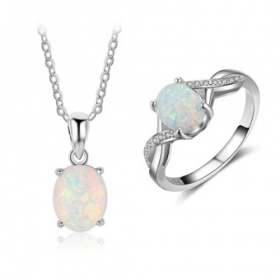 Opal  Gemstone Silver Twisted Ring Necklace Jewelry Sets
