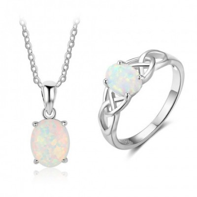 Opal Silver Hollow Ring Necklace Jewelry Sets