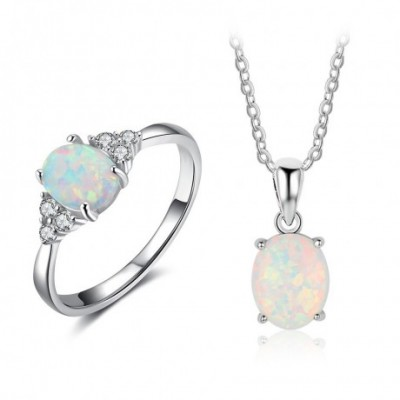 Opal Silver  Gemstone Ring Necklace Jewelry Sets