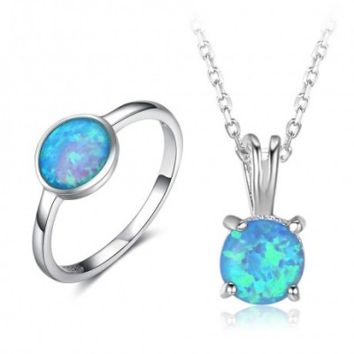 Blue  Opal Silver Ring Necklace Jewelry Sets