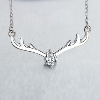 Antlers Gemstone Silver Necklace