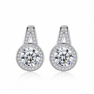 A Shape Round  Gemstone Silver Studs Earrings