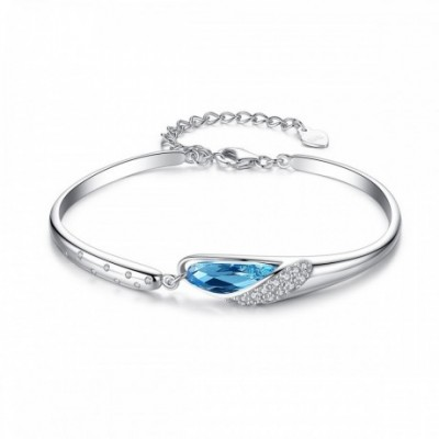 Blue  Gemstone Heart Silver Bangle