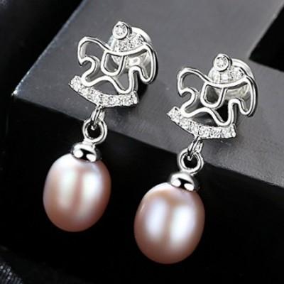 Horse Pearl & Silver Dangling Earrings
