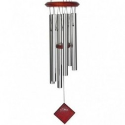 Pluto Wind Chime Silver -  Dark Wood Finish