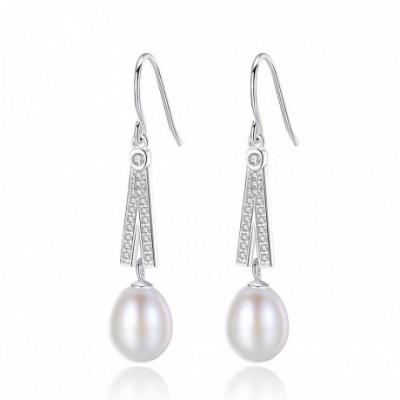 A Shape  Gemstone Pearl Silver Dangling Earrings