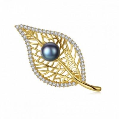 Round Pearl On  Gemstone Hollow Leaf Silver Brooch