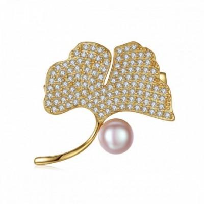Round Pearl Silver  Gemstone Ginkgo Leaf Brooch