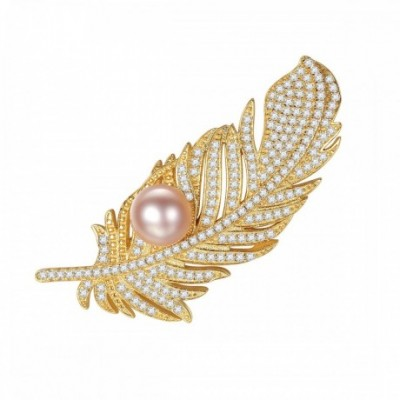 HalfRound Pearl On  Gemstone Feather Silver Brooch