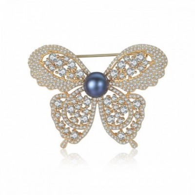 Gemstone Butterfly Round Pearl Silver Brooch