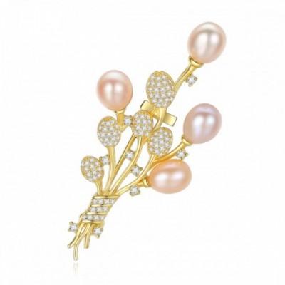 Gemstone Round Pearl Bouquet Flower Silver Brooch