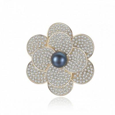 Dark Blue Pearl Silver  Gemstone Flower Brooch