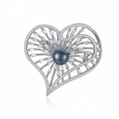 Black Pearl Silver  Gemstone Hollow Heart Brooch