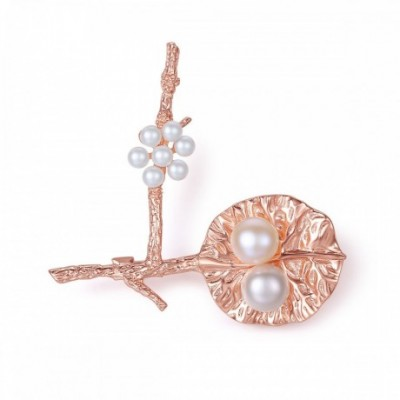 Leaf And Flower Pearl Silver Brooch