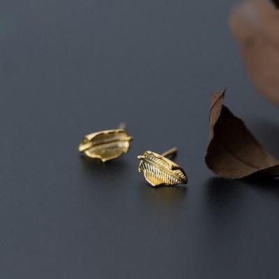 Aumumn Yellow Leaves Silver Studs Earrings