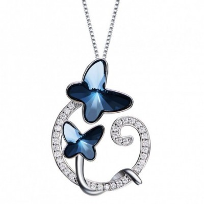 Blue Aumtrian Crystal Butterfly Twisted Silver Necklace