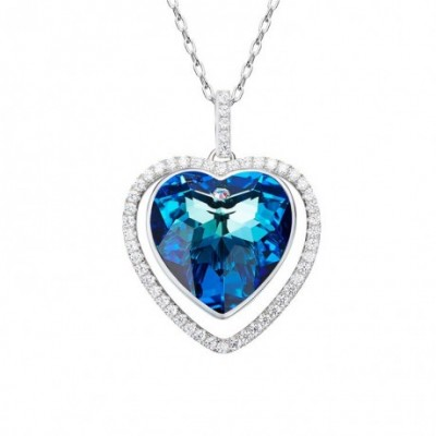 Aumtrian Crystal Heart Of Sea  Gemstone Silver Necklace
