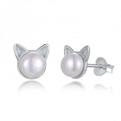Bear Pearl Silver Stud Earrings