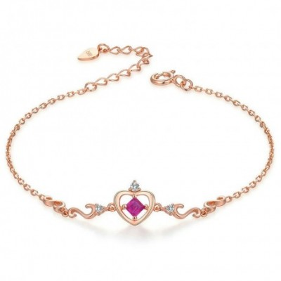 Crown Ruby Silver  Gemstone Bracelet