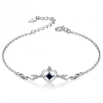 Crown Sapphire Silver  Gemstone Bracelet