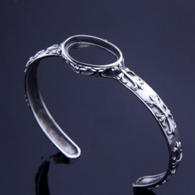 Carved Flower Oval Solid Silver Bangle Adjustable Bracelet