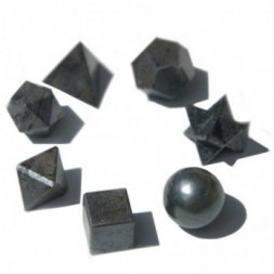 Geometric Seven Piece Black Agate Set
