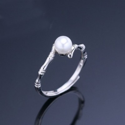 Bamboo Round Solid Silver Adjustable Ring