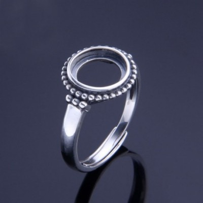Balls Round Solid Silver Adjustable Ring