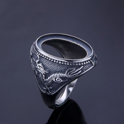 Dragon Oval Solid Silver Adjustable Ring