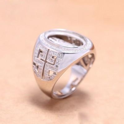Buddhism  Gemstone Solid Silver Adjustable Ring Oval Gem