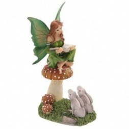 Fairy Storyteller on Mushroom with Hares Figurine